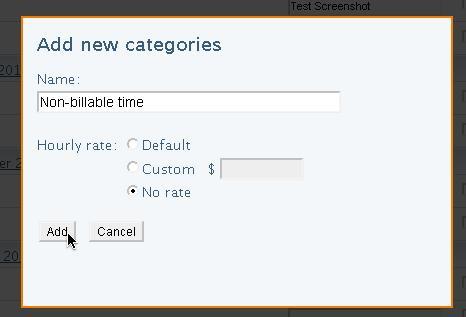 Creating a non-billable time code