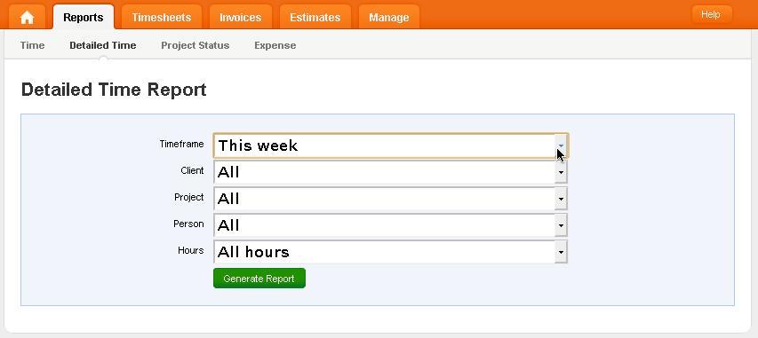 Creating a custom time report (e.g. with Harvest www.getharvest.com)