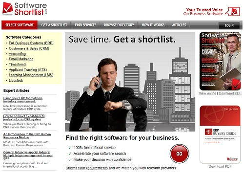 New homepage for Software Shortlist