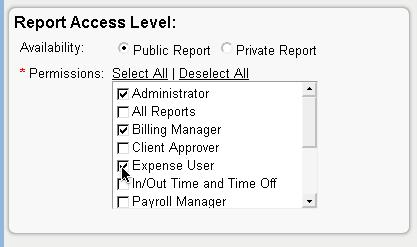 e.g. Setting Up Template Report Access on Replicon Timesheet (www.replicon.com)